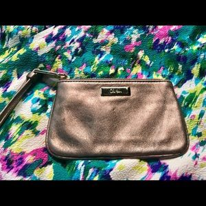 Cole Haan Small wristlet change purse gold leather